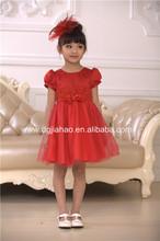 2014 New arrival knee-length short seelve beaded red children wholesale smocked dresses