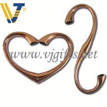 Promotional printed hearts round metal bag/purse hanger