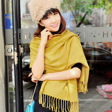 2014Women Winter Solid Yellow Color Pashmina promotion gift (RP107BL)