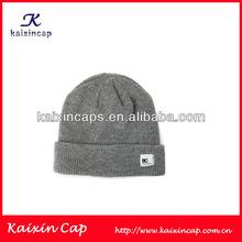 OEM Custom Acrylic Grey Knitted Cap/Hat Woven Label Logo Muslim Prayer Cap Fashion Design
