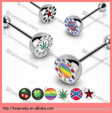 316L Surgical Steel Barbell Free Sample Tongue Rings Jewelry with 10mm Gem Paved Half Dome Logo Top