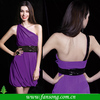 2014 Sexy One Shoulder Purple Cocktail Dress With Black Sequin Sash