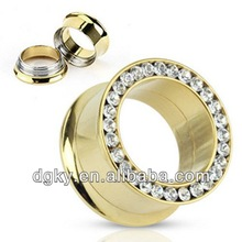 Gold Plated Screw fit double flare tunnel with cz gems