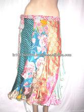 New Ladies Magic Vintage Silk Saree Sari Patchwork Wrap Skirt 2014
