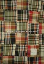 madras cotton patchwork fabric teflon coated