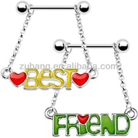 Best Friend Chain Dangle Nipple Ring Set piercing nipple jewelry