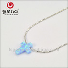 Jewelry Factory Supplies Good Quality Best Price Cross Shape Ocean Blue Created Opals Necklace