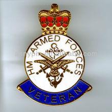 die cast vintage royal badge/ enamle die cut custom lapel pin collar badge