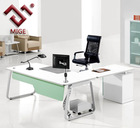 White Matt L Shape Metal Frame White Office Furniture