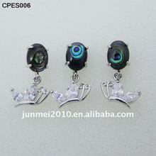 beautiful blue abalone shell jewelry set with cz butterfly