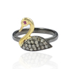 Pave Set Diamond Studded Swan Bird Rings, Natural Ruby Eyed Gemstone Wholesale Handmade Duck Ring Jewelry