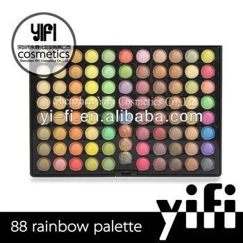 Professional!88 rainbow color eyeshadow palette with morror cosmetic eyeshadow /eyebrow powder