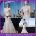 sexy baxkless colher beading vestido de noiva applique chão comprimento tulle modificada sereia meia manga vestido de casamento