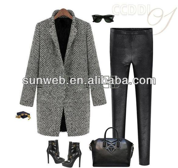 2014 New European Fashion Ladies Winter Warm Lapel Overcoat Wool Cashmere Long Parka Coat Outwea ...