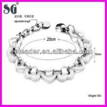 Top quality bio ceramic bracelet magnetic bracelet with settng Zircon CZ stones and silver jewelry