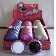 Hot sale fashionable design folding hairbrush mirror set