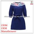2014 ladeis' fahison elegante de la alta calidad ropa de la fábrica de manga larga azul vestidos combinación
