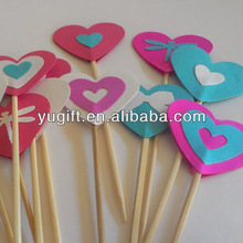 Colorful Heart cupcake toppers /cake decoration picks/decorative floral picks