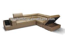 Modern Design Genuine Leather Corner L Shaped Sofa with Magazine rack, storage ottoman, air bag sofa furniture -11
