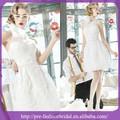 branco vestido de noiva curto comprimento do joelho alta pescoço vestidos de noiva