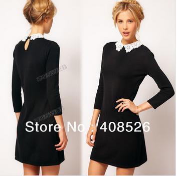 casual Sexy Slim Woman Long sleeve Lace Collar Dress Black Mini Dress S M L 16888