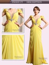 V-Neck Pleats Beaded Dresses Evening robe de soiree mariage