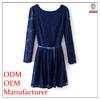 2014 ladeis' fahison elegant long sleeves belt cotton lace graceful high quality rayon spandex long maxi dress