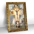 enmarcado arte 3d jesús cruz de pintura al óleo para la decoración del hogar