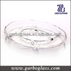 Oval Shape Grape Pattern Clear Crystal Divided Glass Plate for Fruit and Candy as Home and Hotel and Bar Decoration