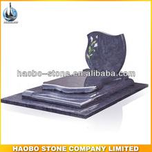 Haobo Flower Sandblasted Bahama Blue Granite Tombstone Pictures