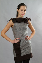 Stripes pattern with Brown- linen prom dress