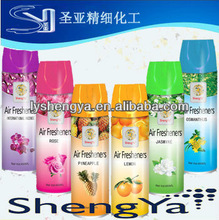 perfume aerosol air freshener:lemon, rose, jasmine, strawberry ,apply, sandalwood....