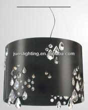 Black fabric ctystal pendant lamp 3*E14 for livingroom/kitchen