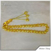 Imitación ámbar granos de la resina con de la perla en el interior musulmanes del rosario granos de rezo islámicos