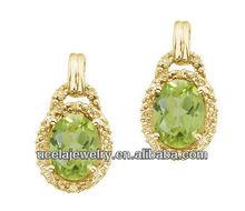 Oval Peridot and Diamond Earrings diamond jewelers