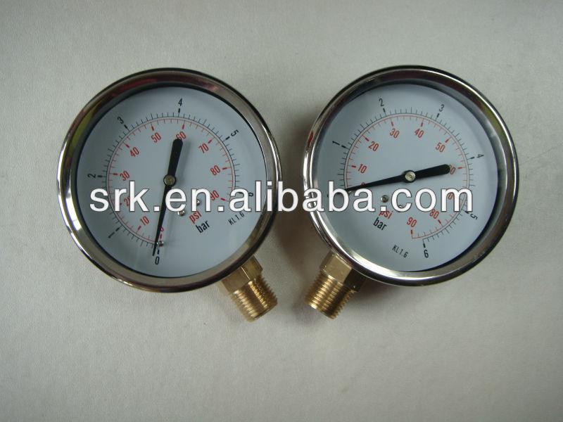 """China best cheap 4"""" stainless steel pressure gauge meter"""