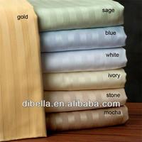 Combed white cotton stripe hotel use bedding fabric / 3cm stripe 100% 60*40/173*120
