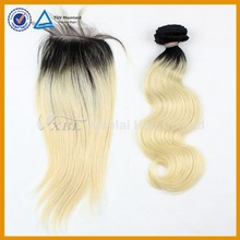 XBL 1B/613 two tone straight hair weave and lace closure