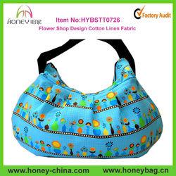 Medium Flower Shop Design Blue Kawaii Cotton Fabric Hobo Bag