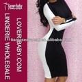 Bayan siyah/beyaz zarif streç uzun kollu Herve elbise