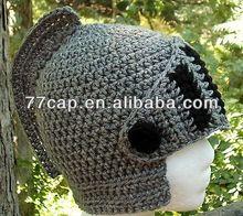 100% Cotton Hand Made Crochet Knight Beanie Hat, Crochet Helmet Hat