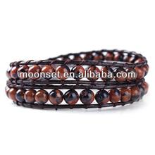 2014 Popular Leather Wrap Around Bead Stone Bracelet Making