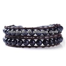 2014 Popular Stone Bead Leather Wrap Around Bead Bracelet