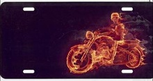 Motorcycle with Real Flames License Plate