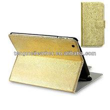 Gold Snakeskin Charming Wallet Case for ipad mini,Smart fashion case for ipad Mini