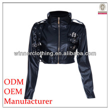 Ladies pu faric with beading trim round neck long sleeves high quality garment manufacturer high quality milan jacket