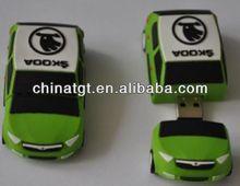 your logo printed green car shape pen drive