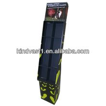 8 cells retail cardboard paper floor stand display rack