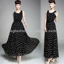 Women Ladies Polka Dots Ball Gown Chiffon Maxi Vest Long Skirt Sundress Dress With Belt