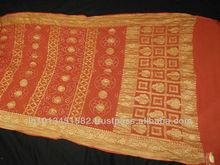 Banarasi crepe saree with work in Mustard color